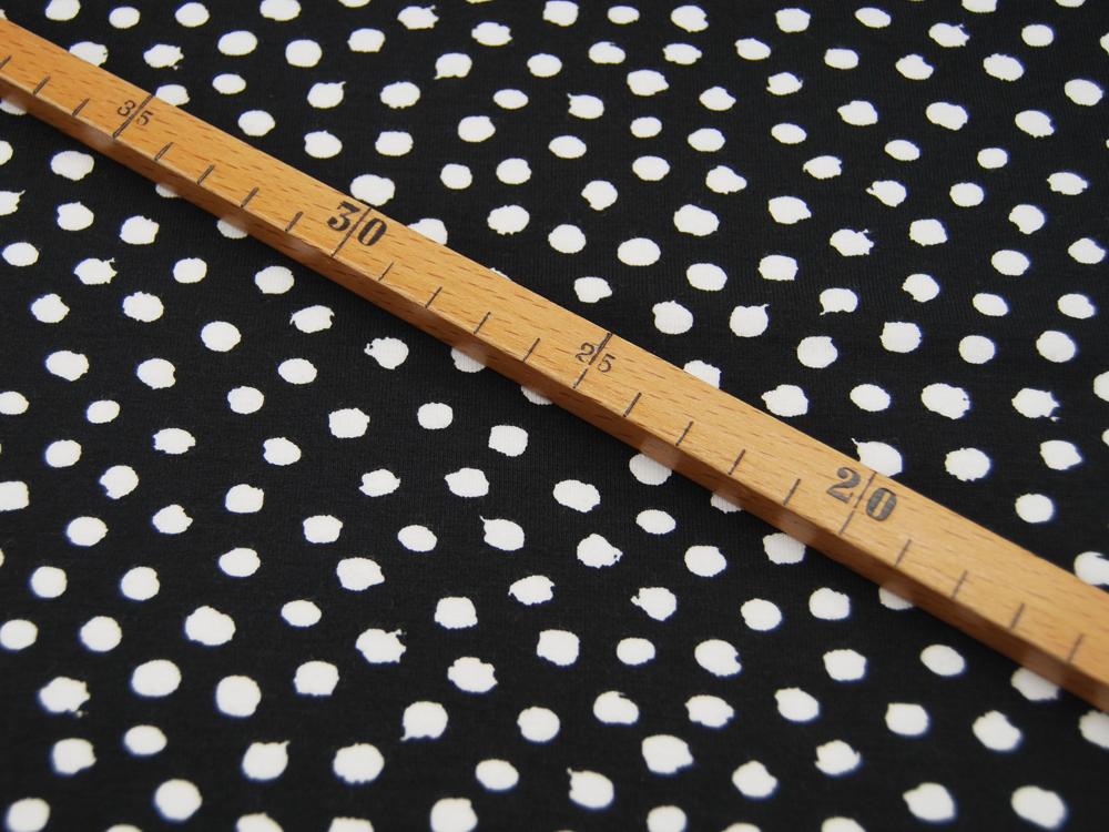 Jersey GOTS Dots Weiß auf Schwarz