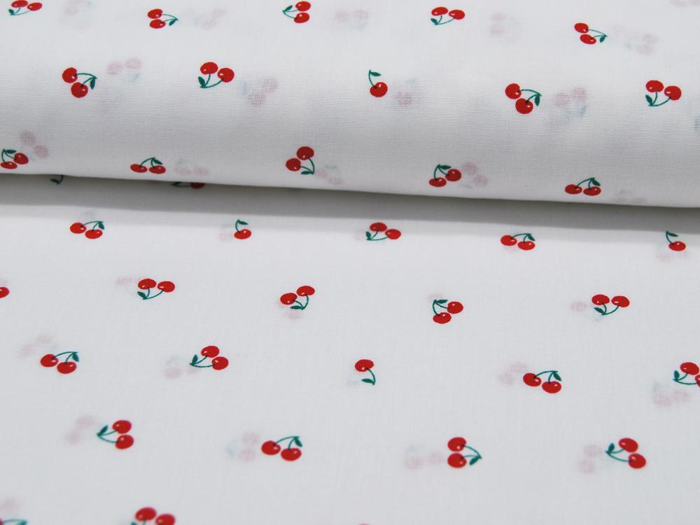 Mini Cherries Kirschen auf Weiß Baumwolle