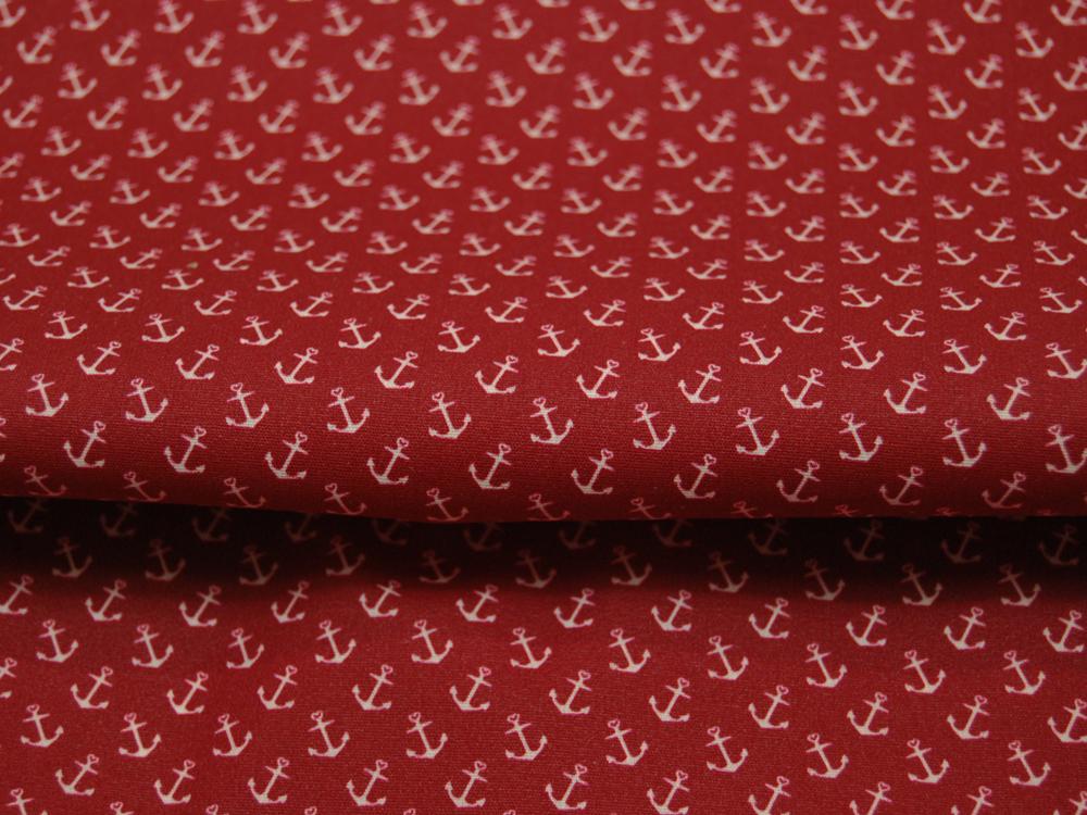 Beschichtete Baumwolle Anker auf Rot 140cm