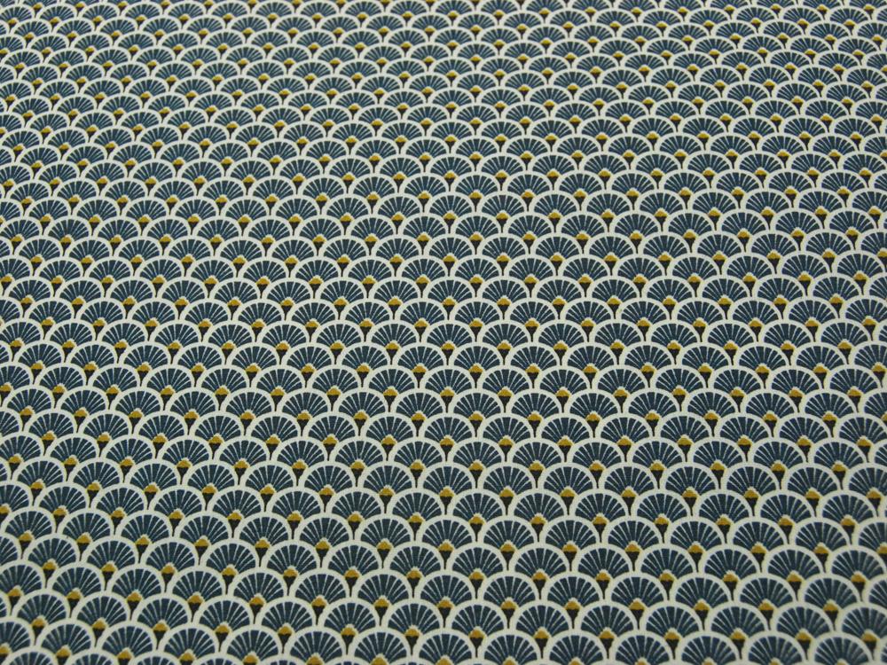 Beschichtete Baumwolle - Fächermuster Jeansblau 50 x75 cm - 2