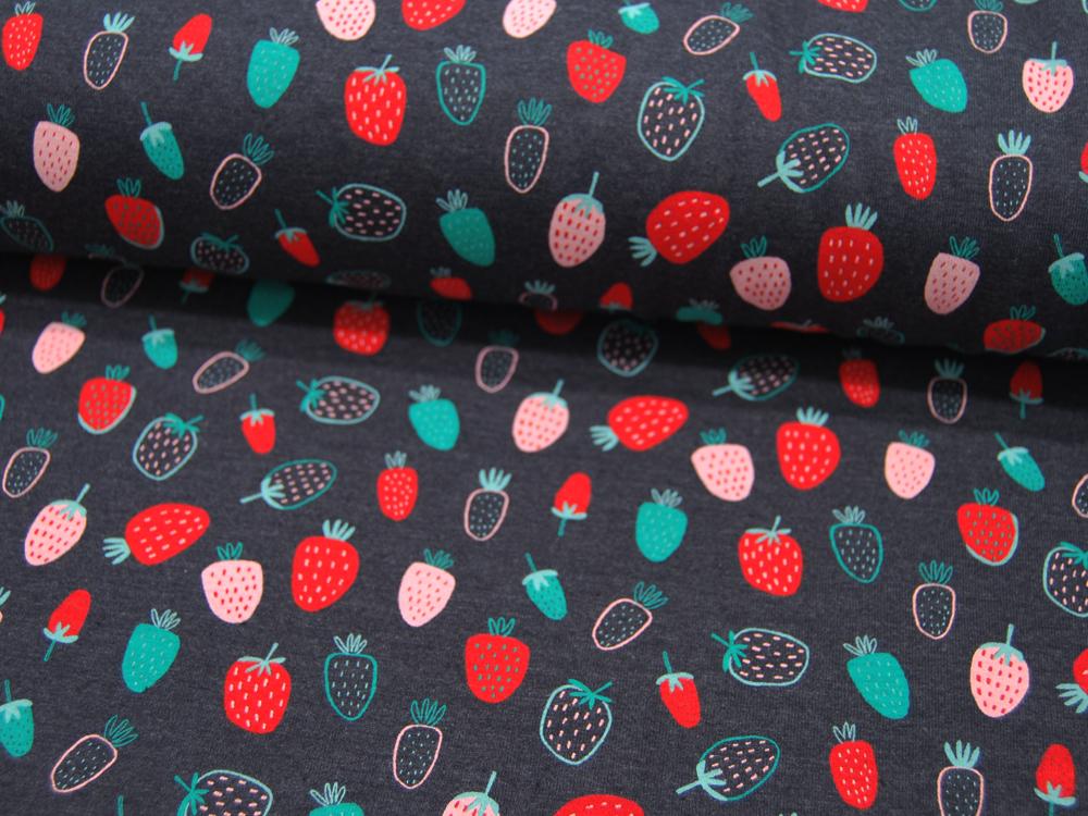 Jersey Strawberry Indigo Melange Erdbeeren Meter
