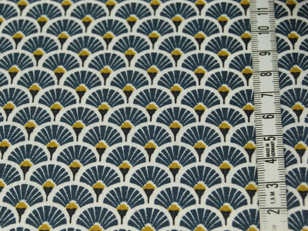 Beschichtete Baumwolle - Fächermuster Jeansblau 50 x75 cm - 1
