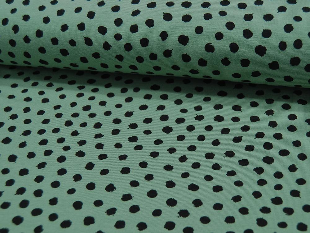 Jersey GOTS Dots Schwarz auf Grün