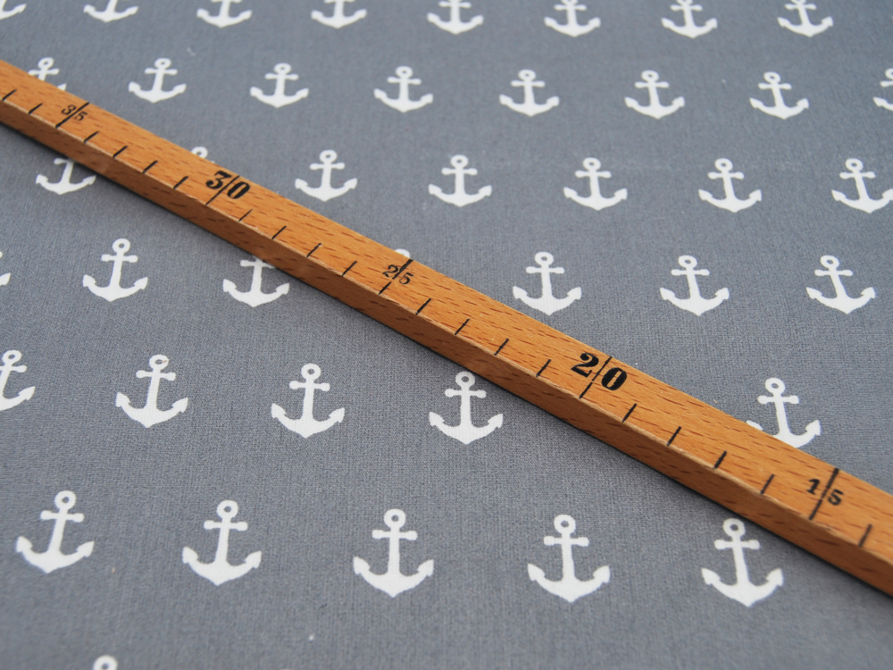 Beschichtete Baumwolle Anchor Anker auf Grau