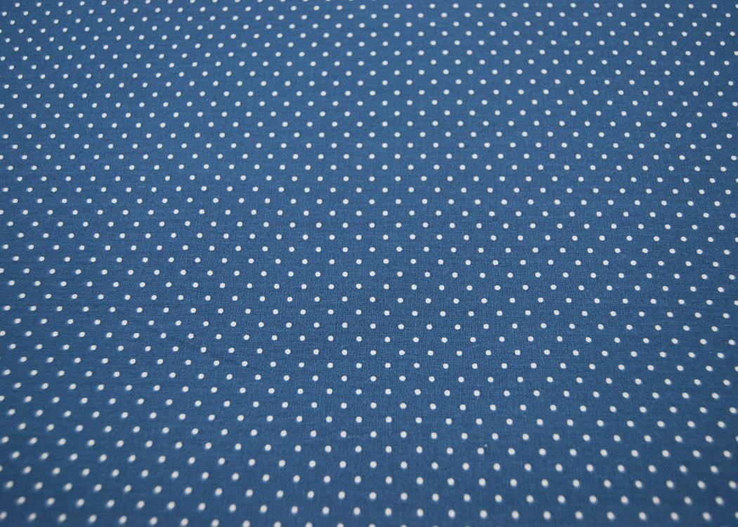 Beschichtete Baumwolle Petit Dots auf Jeansblau
