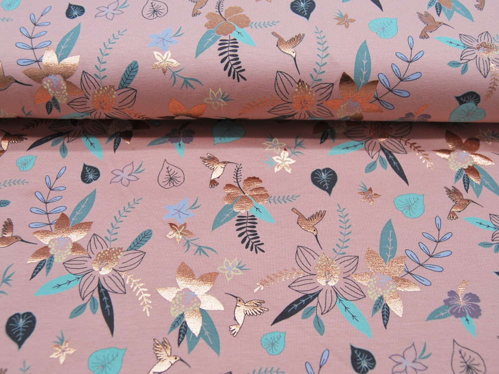 Jersey Flowers Blumen und Kolibris FOIL