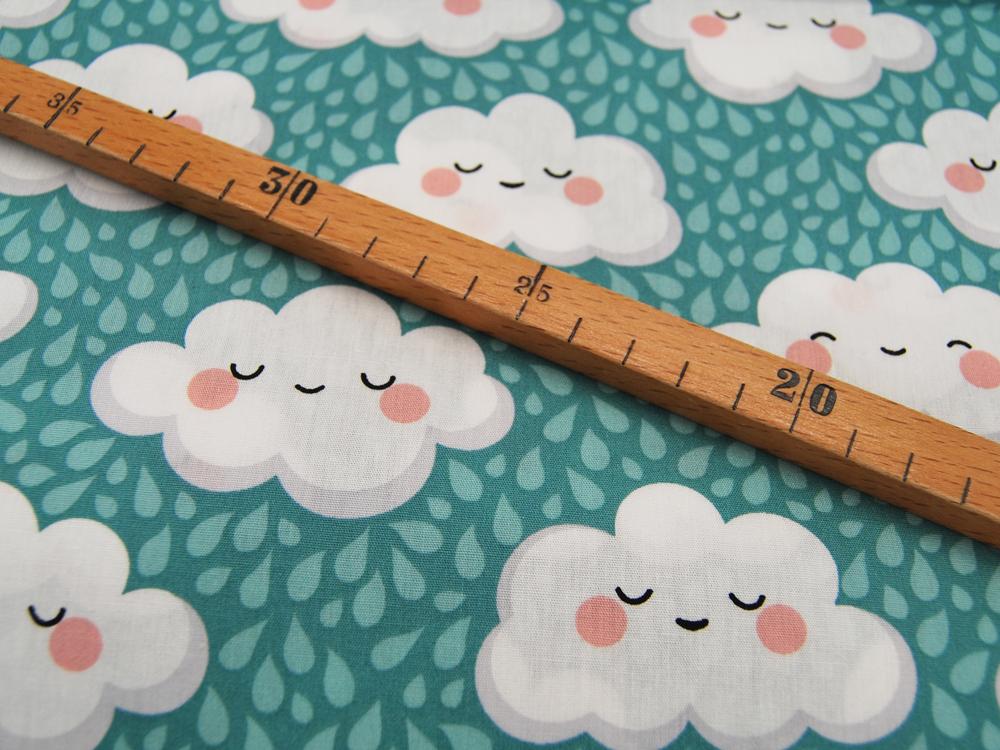 Baumwolle Glückliche Wolken auf Mint 050m