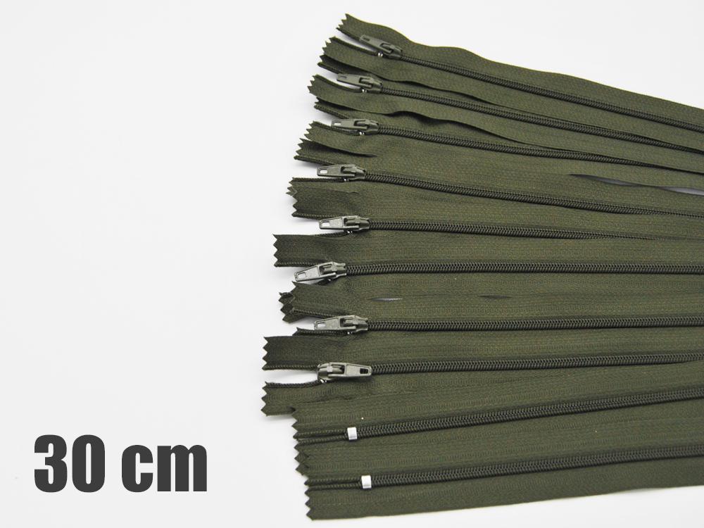 10 x 30cm Olivegrüne Reißverschlüsse