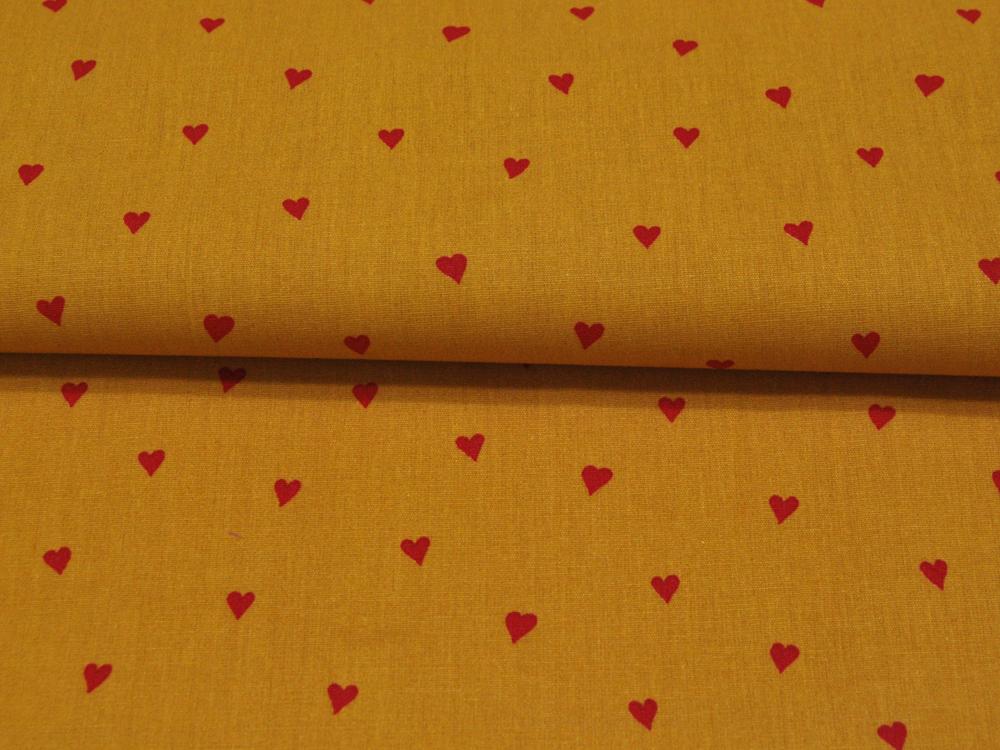 Beschichtete Baumwolle Herzen Ocker Rot cm