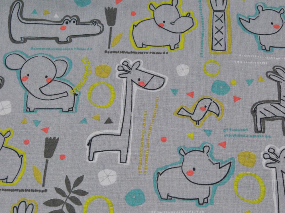 Baumwolle Sweet Zoo Animals auf Grau