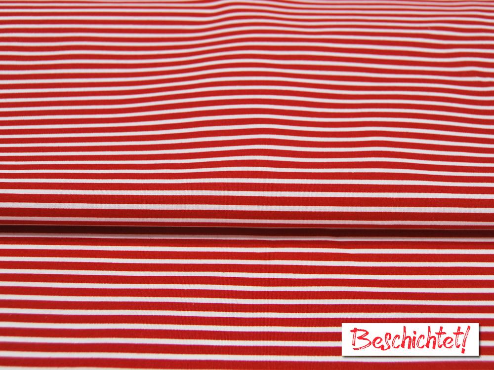 Beschichtete Baumwolle Stripe Streifen in Rot-Weiß