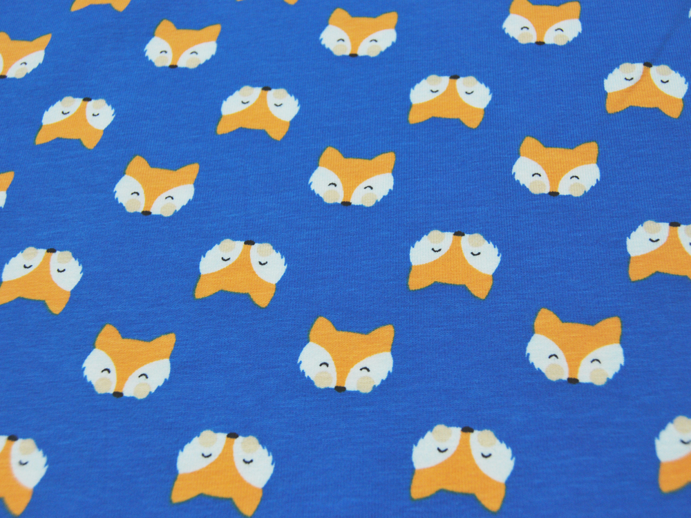 Jersey - Fuchsköpfe auf Blau -