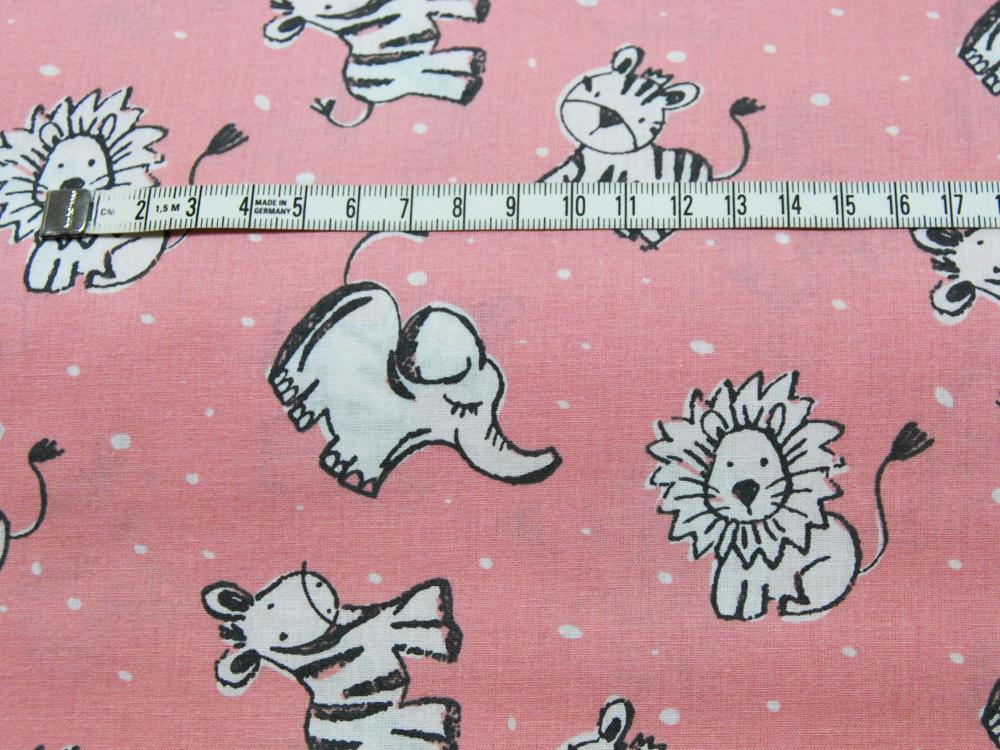 Baumwolle - Zebra, Elefant, Löwe, Tiger auf Rosa 0,5m