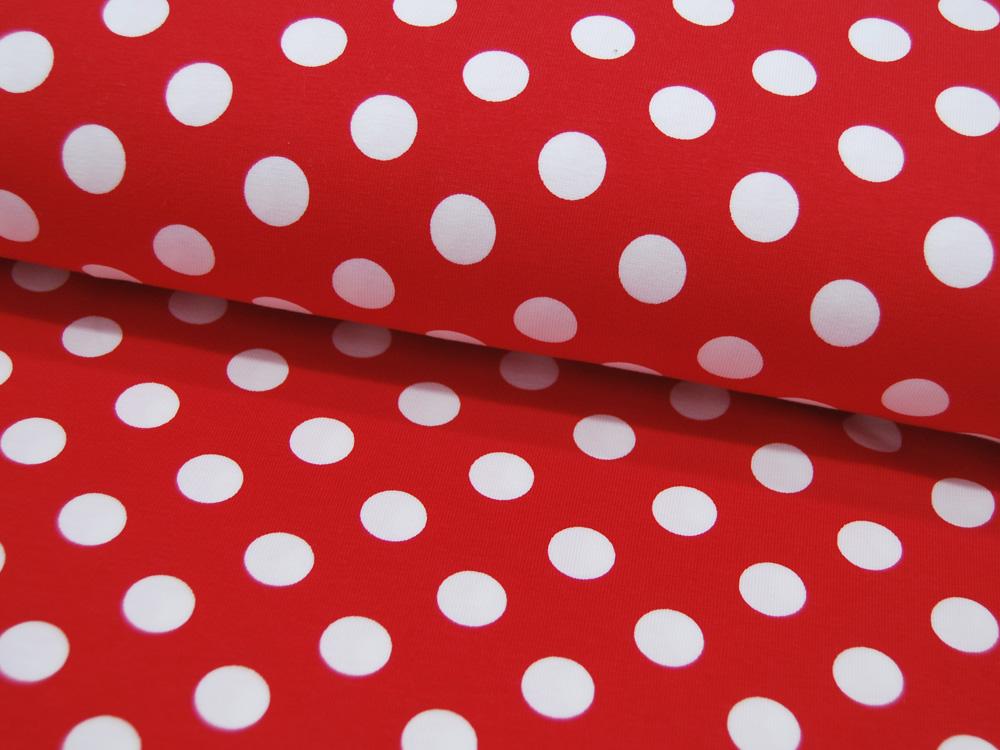 Jersey Dot Red White Weiße Punkte