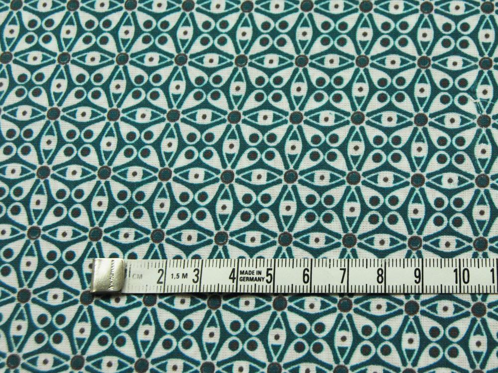 Beschichtete Baumwolle - Graphisches Muster in Petrol-Anthrazit - 50 x 73 cm - 2
