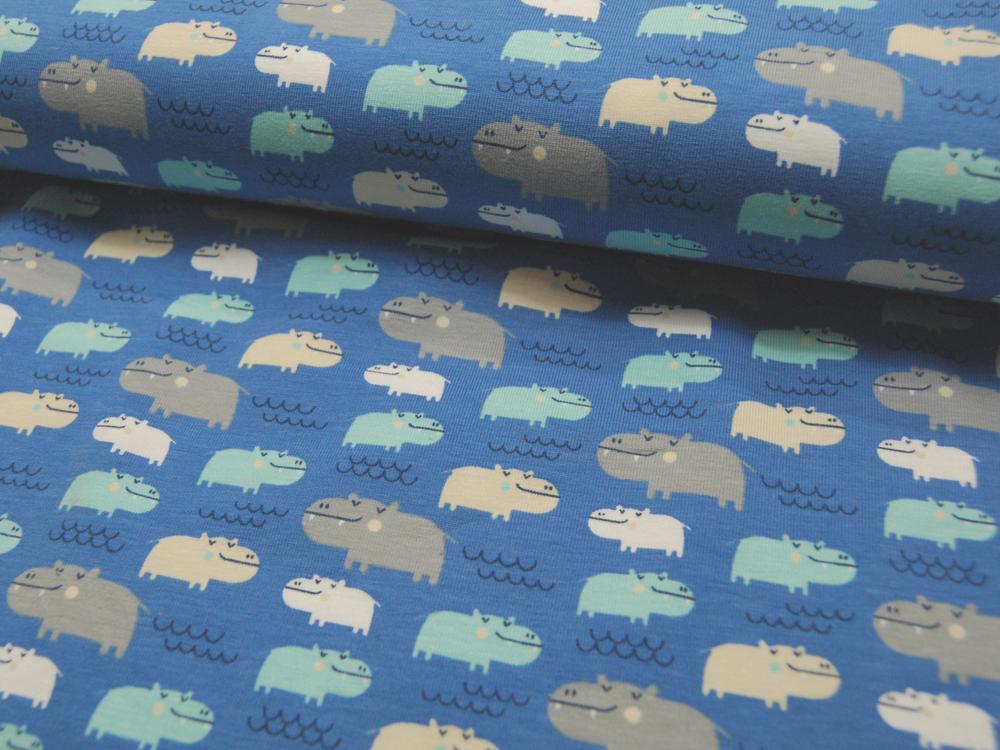 Jersey - Flusspferde auf Blau -