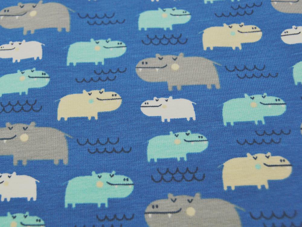 Jersey - Flusspferde auf Blau - 0,5 m