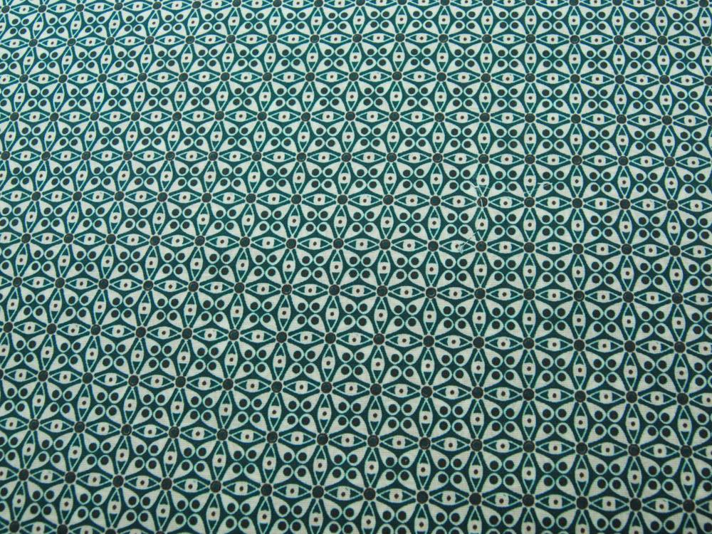Beschichtete Baumwolle - Graphisches Muster in Petrol-Anthrazit - 50 x 73 cm - 1
