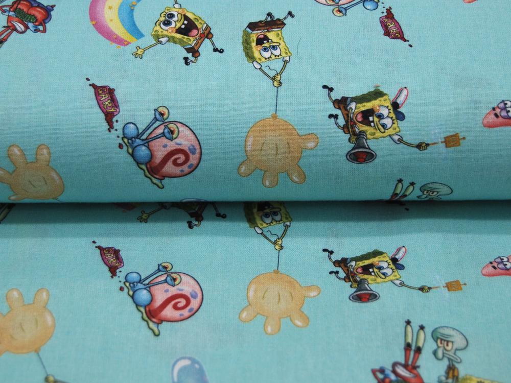 Baumwolle - Spongebob auf Helltürkis