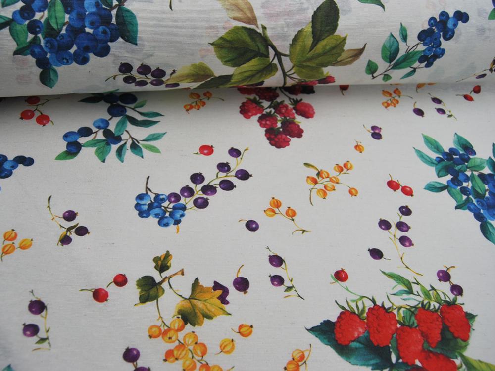 Beschichtete Baumwolle Berries Beeren auf Weiß