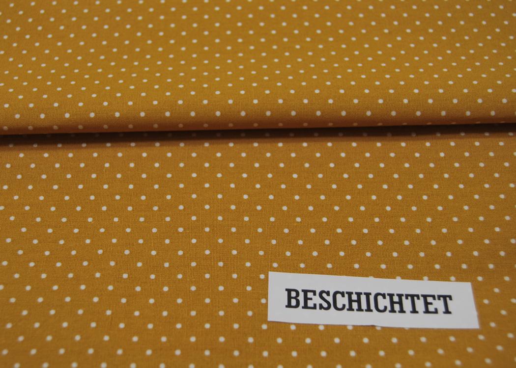 Beschichtete Baumwolle Petit Dots auf Ocker