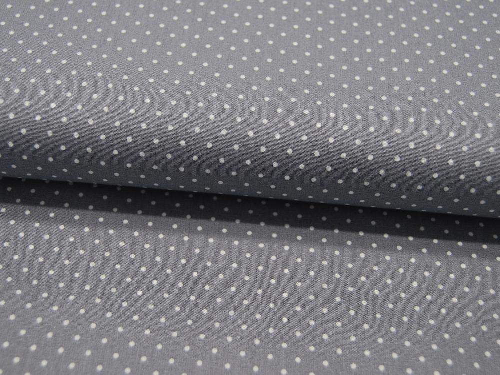 Small Dots Minipunkte auf Grau Baumwolle