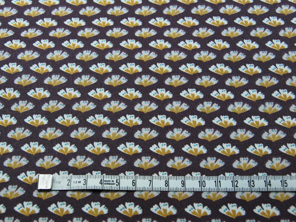 Beschichtete Baumwolle - Blüten auf Aubergine 50 x75 cm - 2