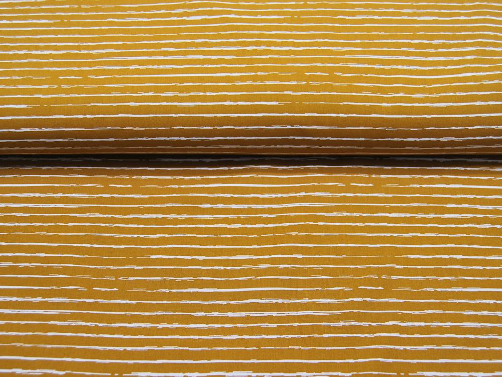 Baumwolle Weiße Streifen auf Ocker Senf