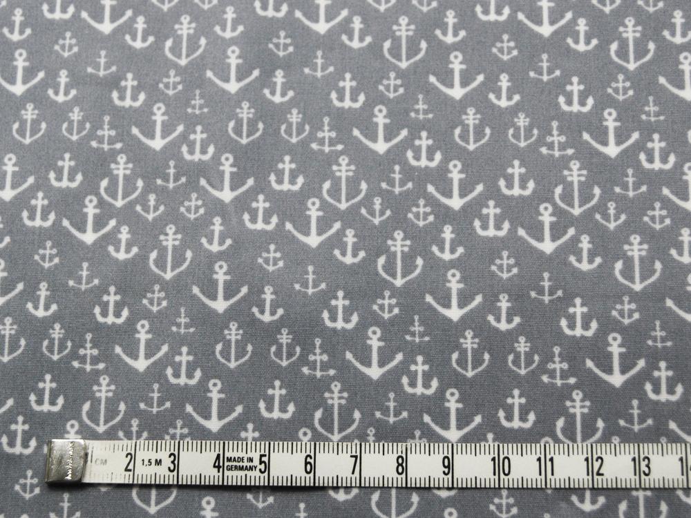 Beschichtete Baumwolle Ankermix auf Grau 130cm