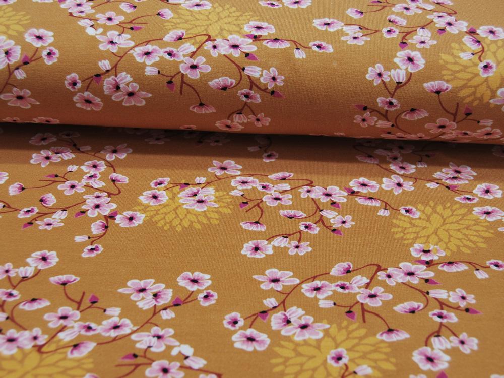 Jersey - Blüten - auf Ocker