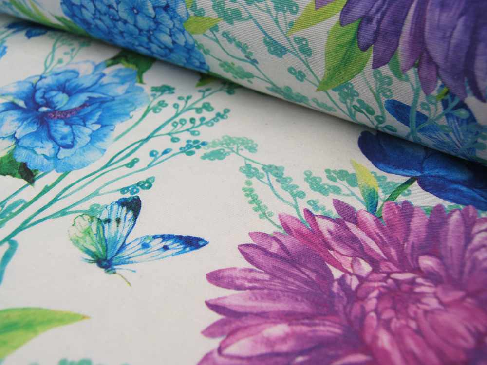 Beschichtete Baumwolle Große Blumen Schmetterlinge Libellen