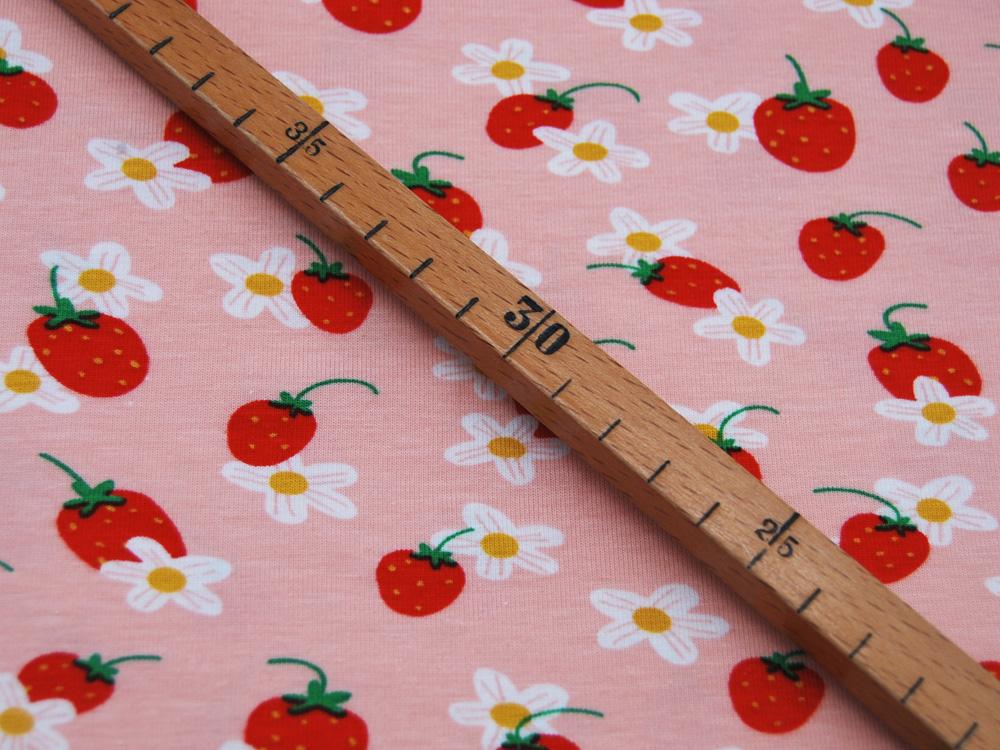Jersey GOTS Strawberry Flower auf Rosa