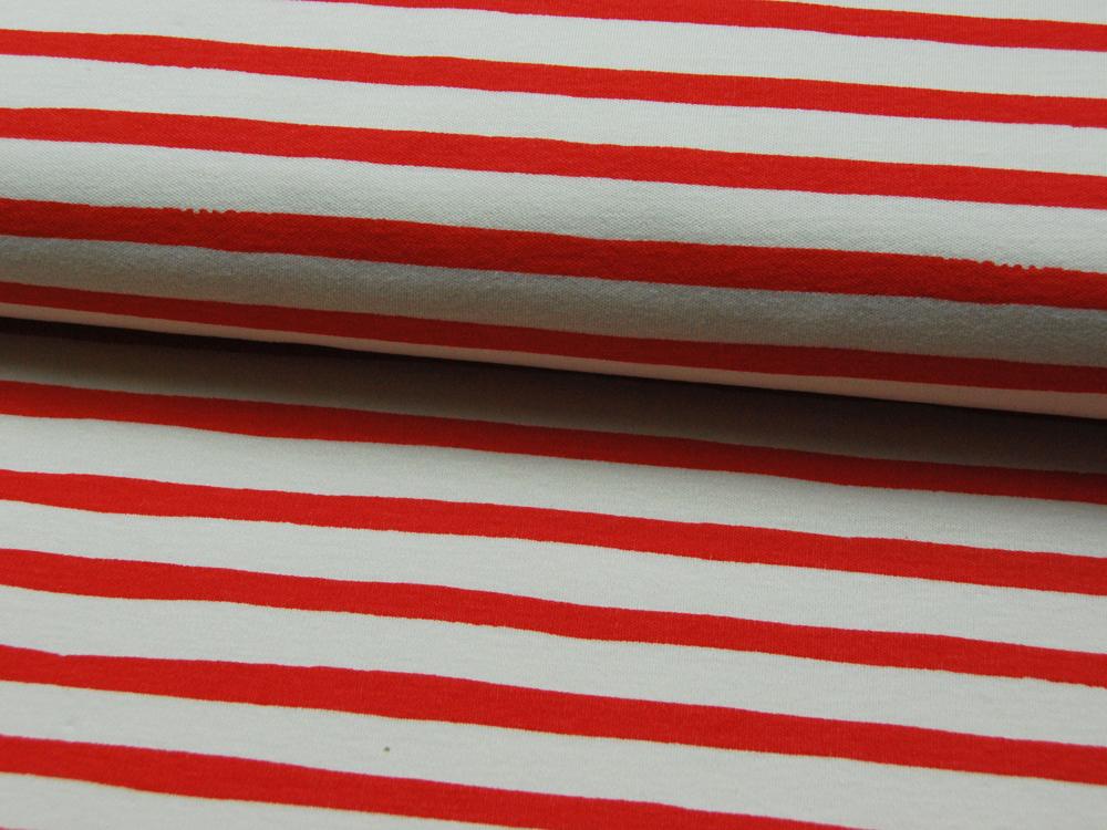 Jersey - BIO -Saltwater Knits - Rot-Weiß gestreift- 0.5m - 1