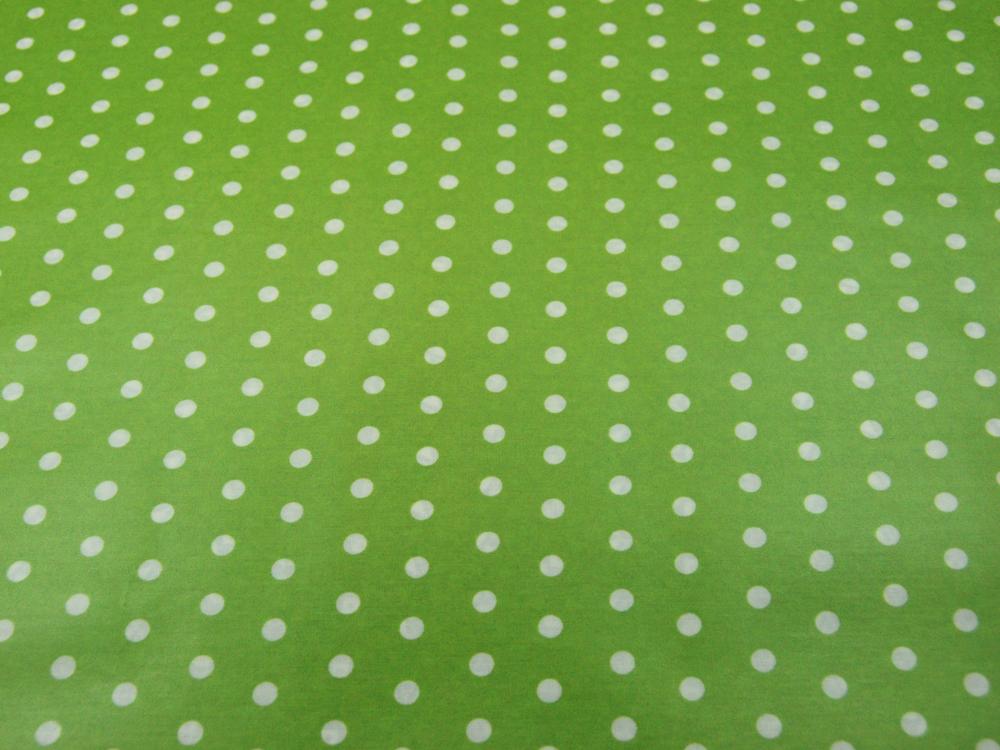 Beschichtete Baumwolle Weiße Dots auf Lindgrün - 1