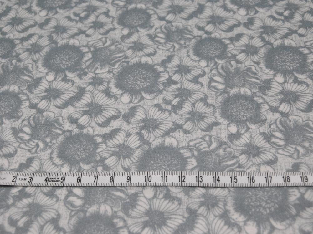 Beschichtete Baumwolle - Blumenmuster auf Grau 50x65 cm