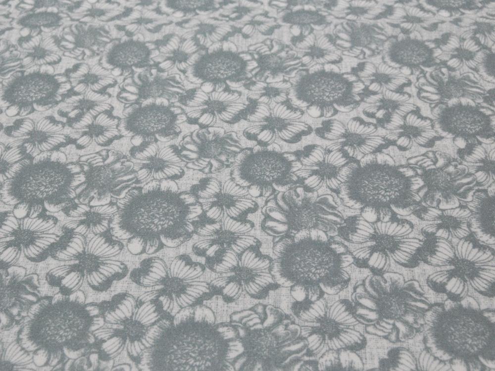 Beschichtete Baumwolle - Blumenmuster auf Grau 50x65 cm - 1