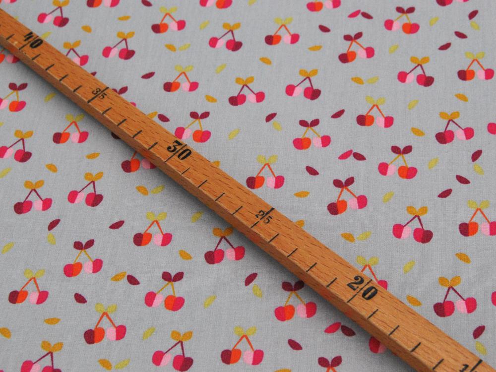 Beschichtete Baumwolle Kirschen auf Grau 50x74