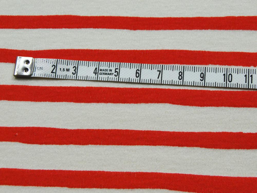Jersey - BIO -Saltwater Knits - Rot-Weiß gestreift- 0.5m - 2