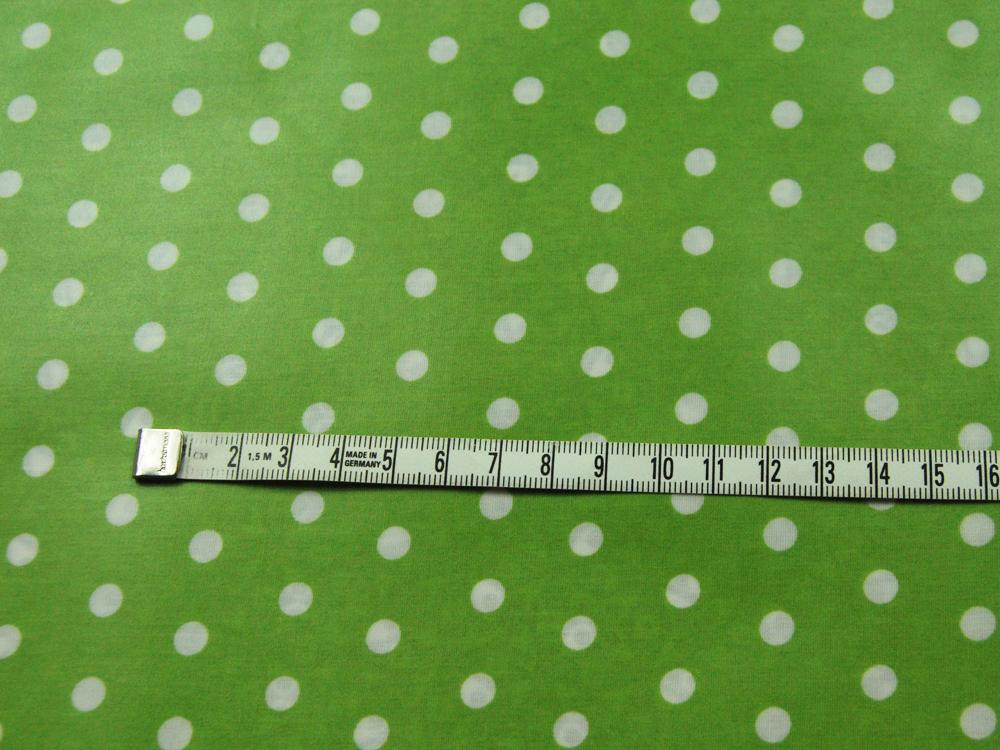 Beschichtete Baumwolle Weiße Dots auf Lindgrün