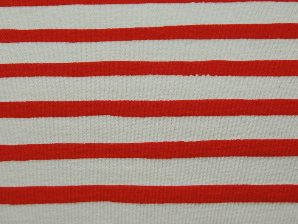 Jersey BIO -Saltwater Knits Rot-Weiß gestreift-