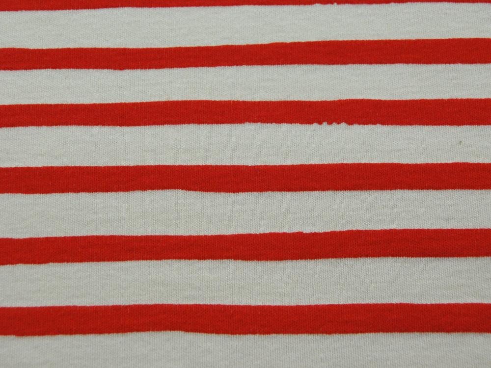 Jersey - BIO -Saltwater Knits - Rot-Weiß gestreift- 0.5m - 3