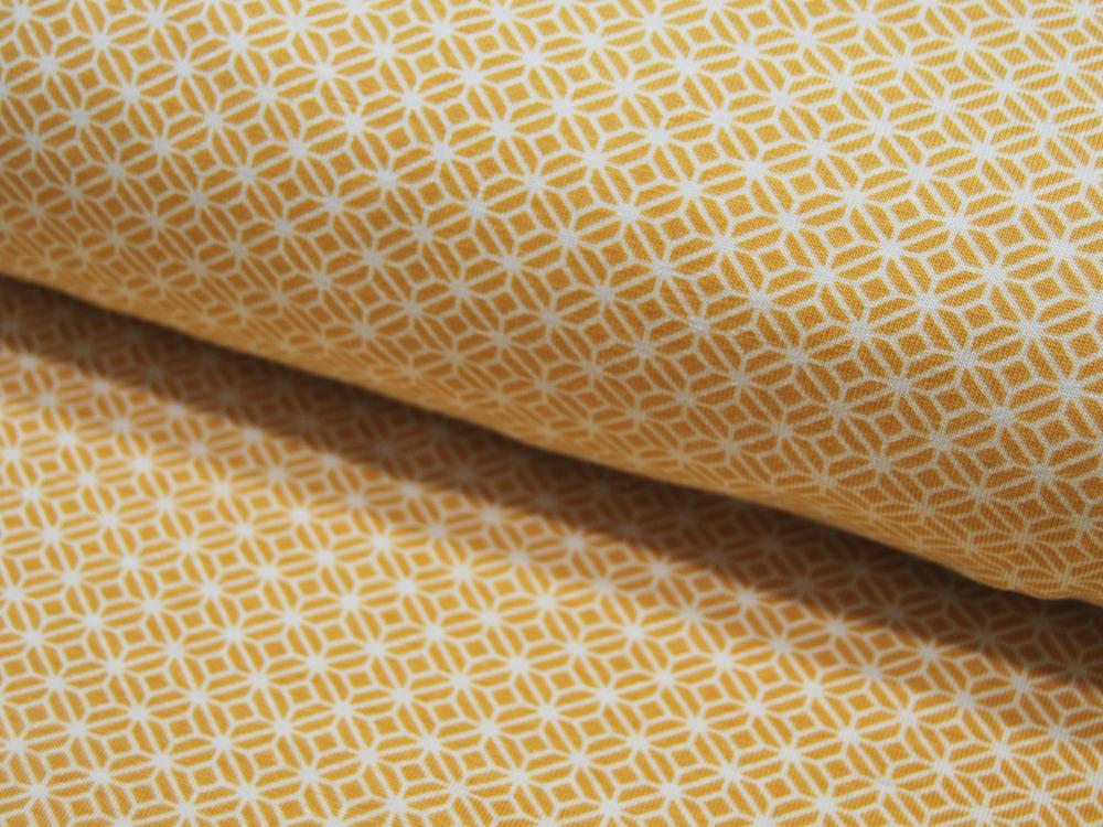 Jersey Graphisches Muster in Senf Weiß