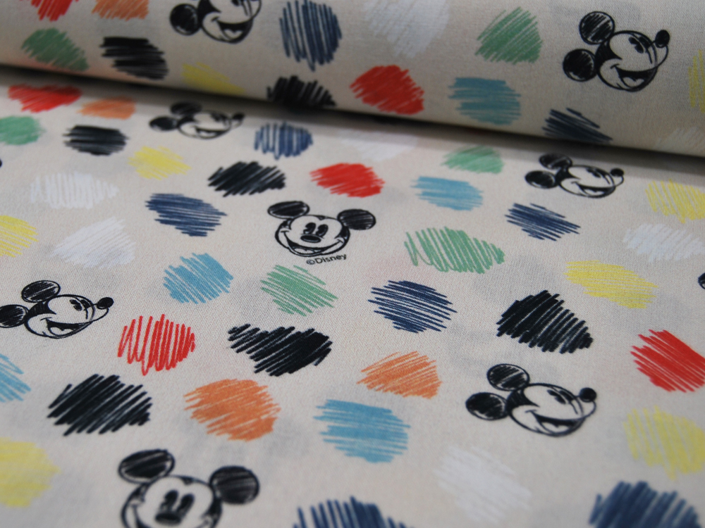 Baumwolle Mickey Mouse Köpfe mit Bunt