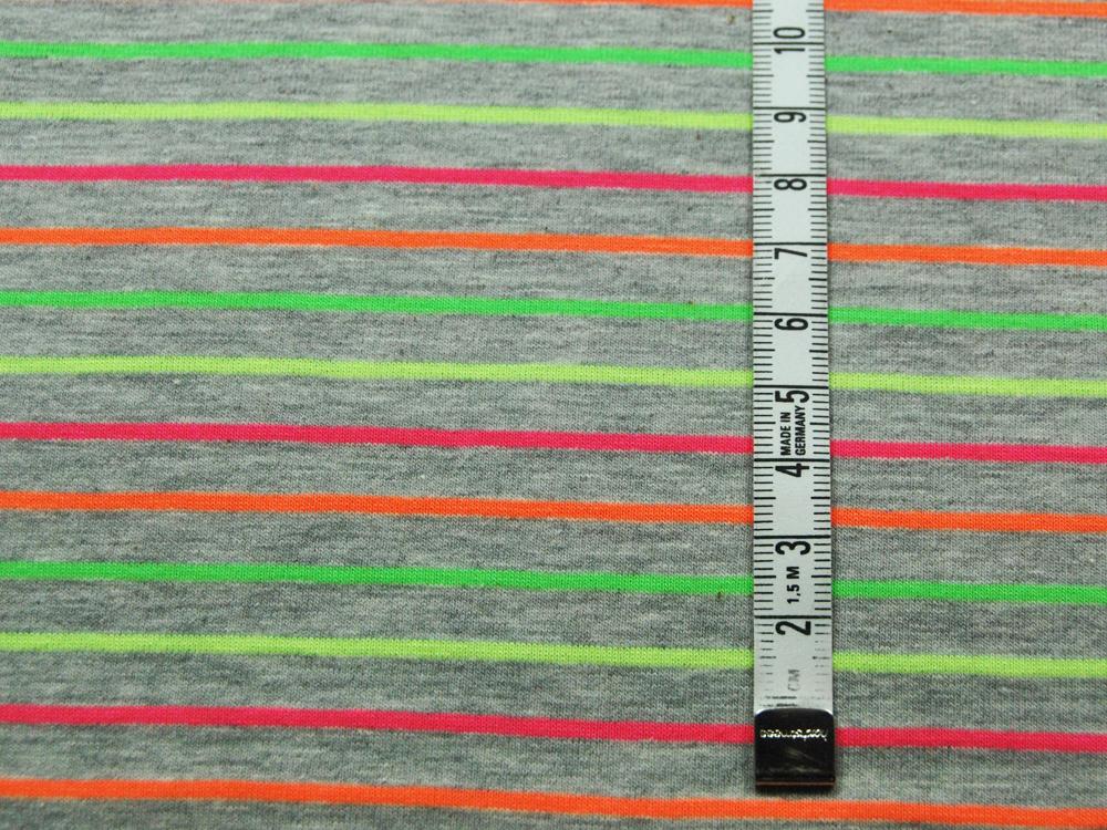 Jersey Hellgrau meliert mit Neonfarben Streifen