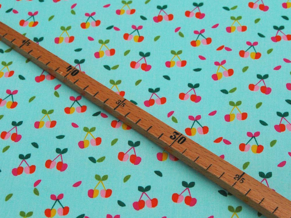 Beschichtete Baumwolle Kirschen auf Türkis 50x145cm