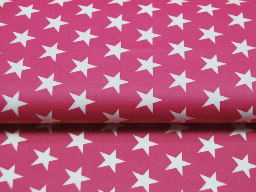 Beschichtete Baumwolle Sterne auf Pink 140cm