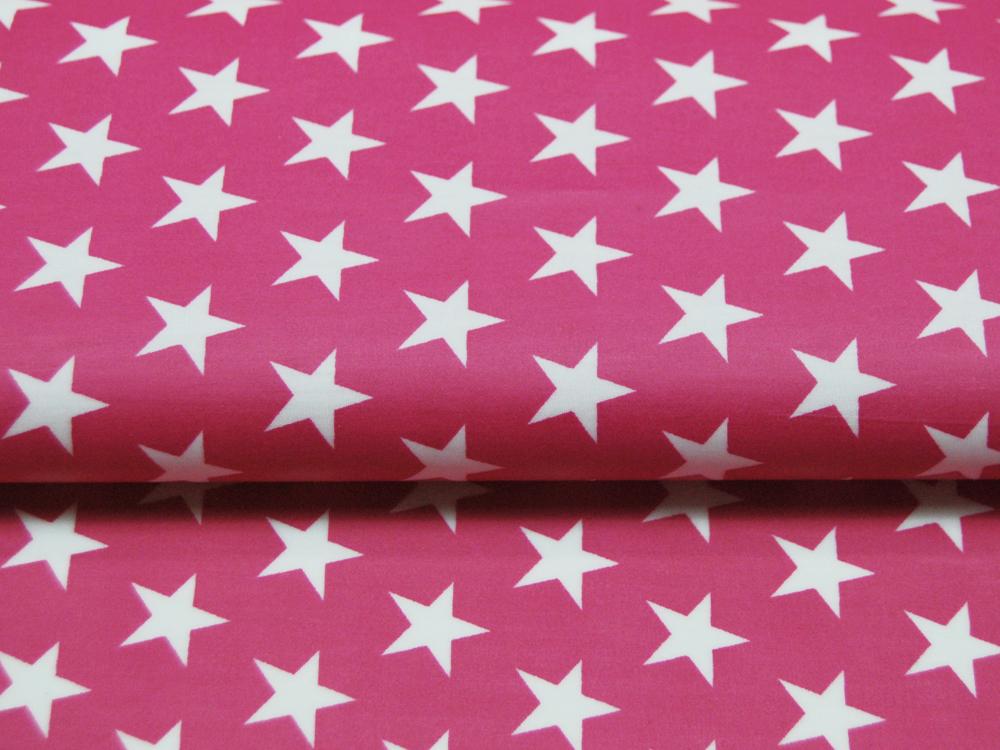 Beschichtete Baumwolle Sterne auf Pink 50x70