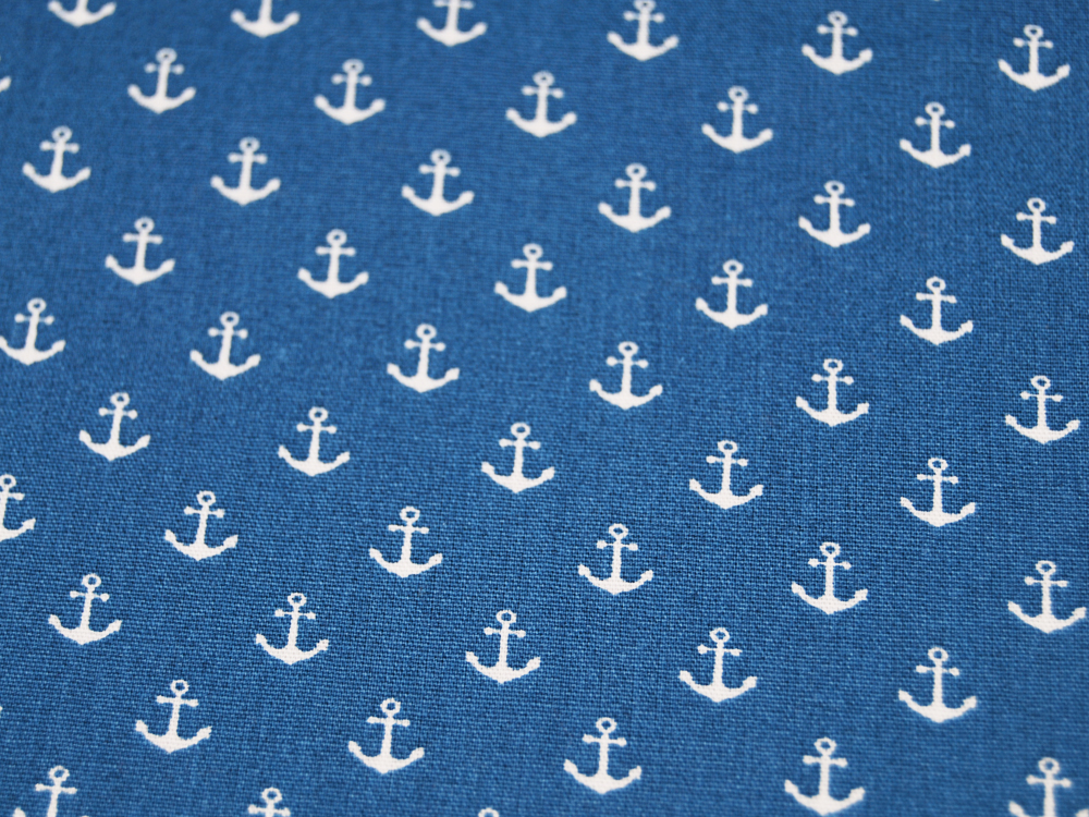Baumwolle Mini-Anker in Weiß auf Jeansblau