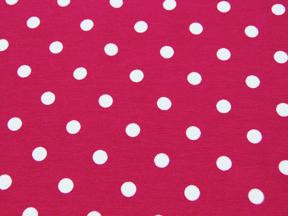 Jersey - Dots auf Dunkelpink - 0,5 m