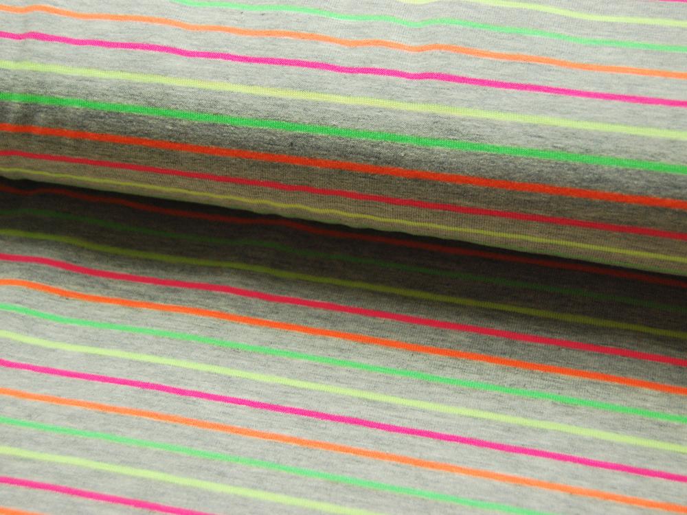 Jersey - Hellgrau meliert mit Neonfarben Streifen - 0.5 Meter - 2